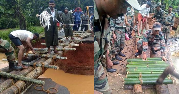 भारतीय सैनिकों का अद्भुत कारनामा, गिरे पेड़ों से बनाया 40 फूट लम्बा पूल, लोगों ने कहा…